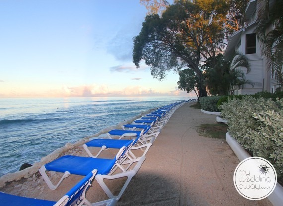 Sea view loungers - The Club Barbados Resort wedding venue, St. James, Barbados
