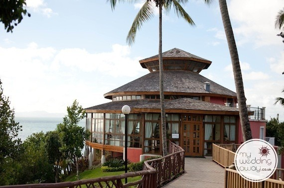 Restaurant overlooking the ocean used for wedding receptions