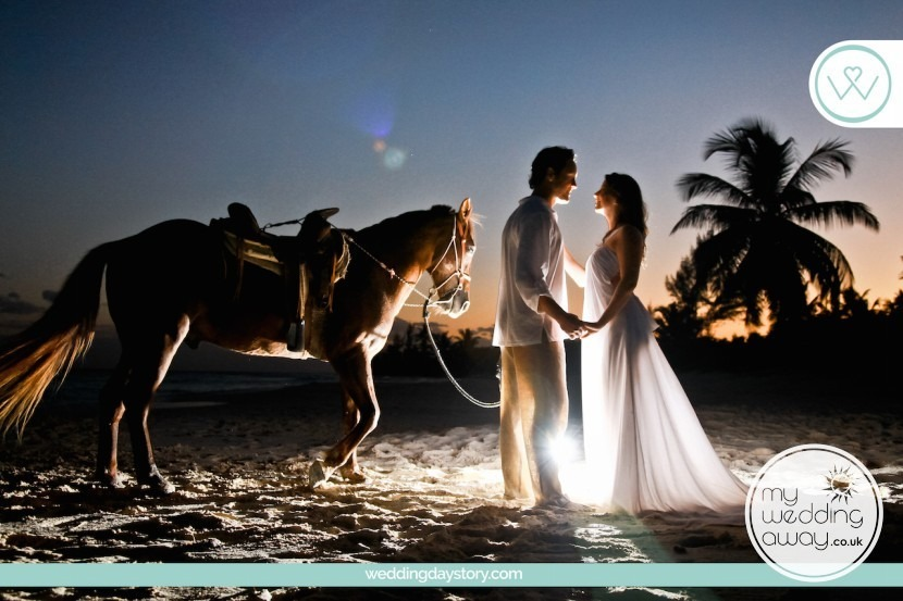 My Wedding Away- Liz Moore Blogger loves romantic couple on beach with horse