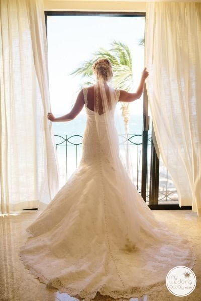 Soft flowing elegant wedding dress destination Wedding