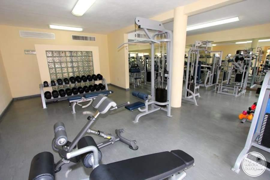 The main fitness centre gym with weights and work out Equipment
