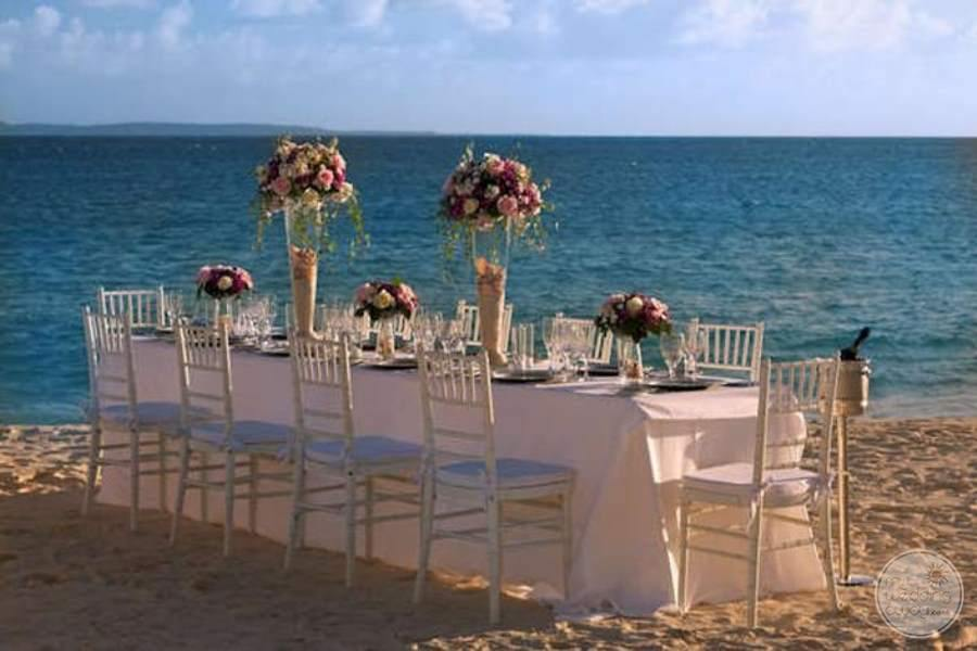 Ocean Blue and Sand Beach Wedding Reception