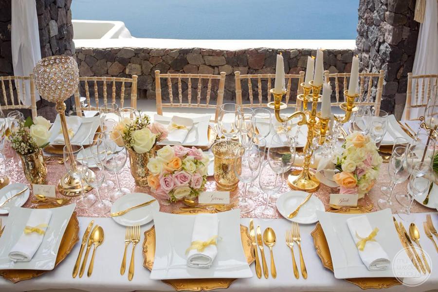 Canaves Oia Wedding Reception Setup