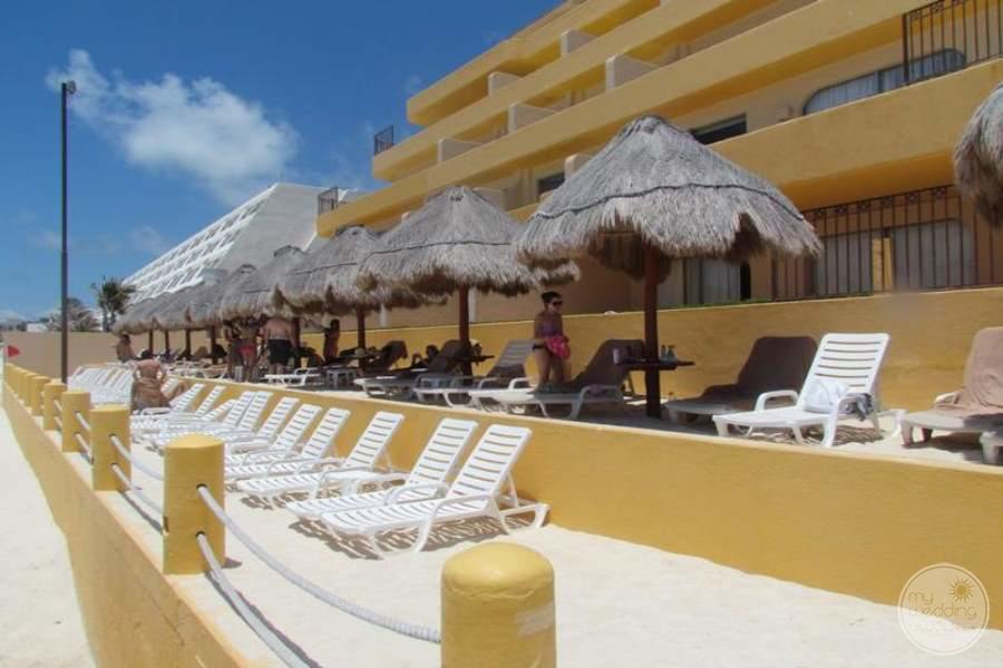 Fiesta Americana Condesa Cancun Lounge Chairs with Umbrellas