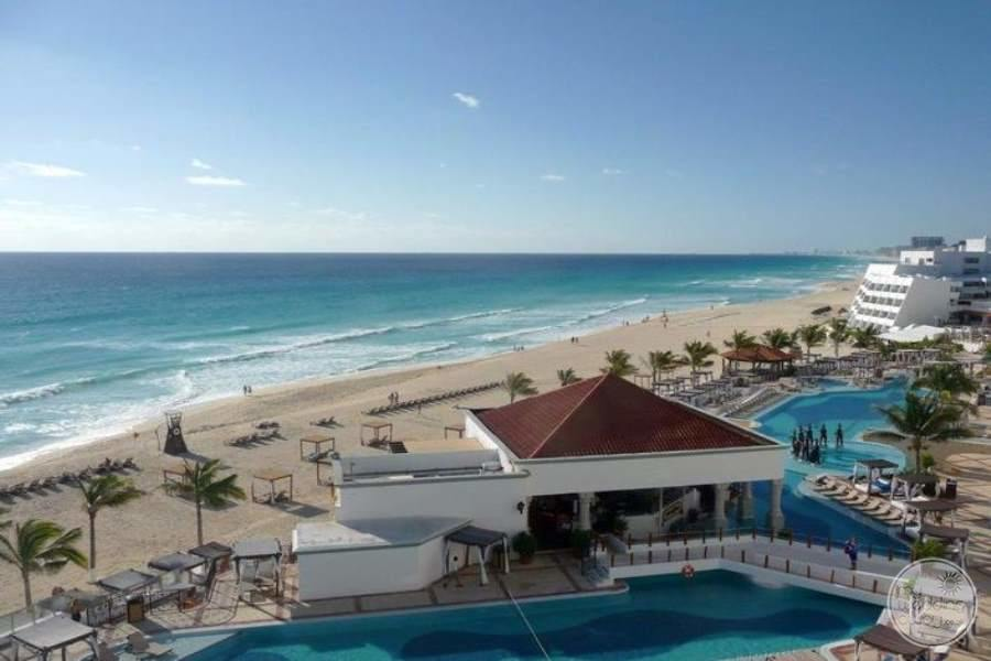 aerial view of main swimming pool restaurant and ocean