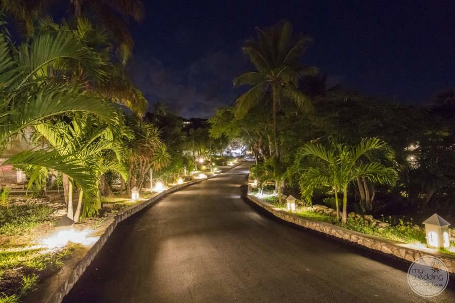 Pineapple Beach Club Antigua Walkway at Night