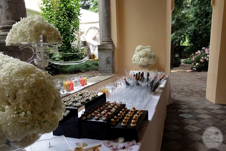Wedding receptionVan you set up area with hors d'oeuvres and champagne