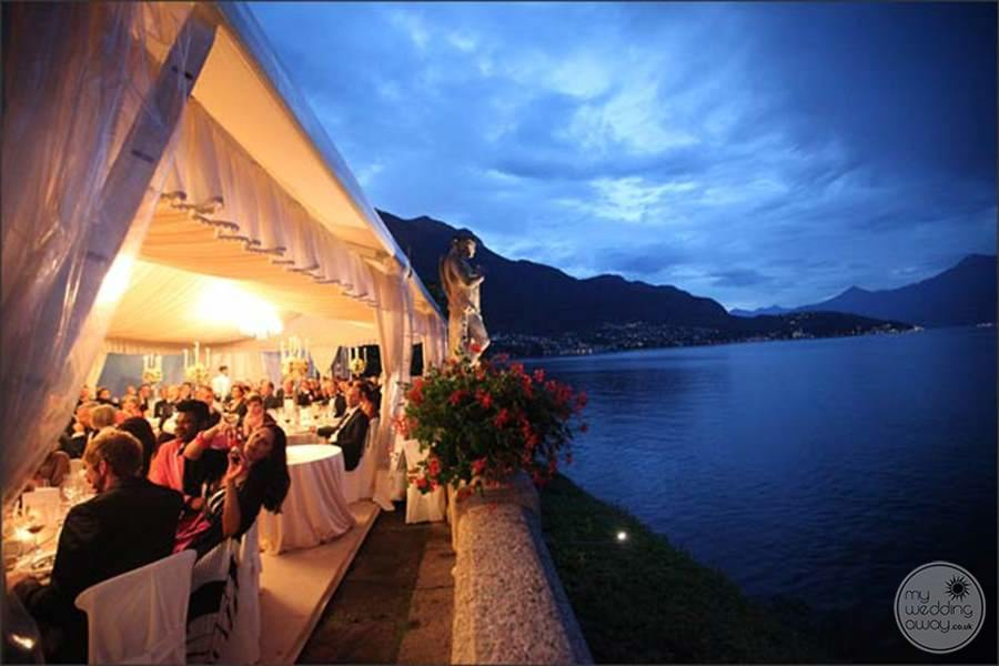 Lakeside Wedding Reception in the evening