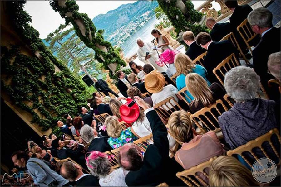 Wedding ceremony with guest And a beautiful chair Decor