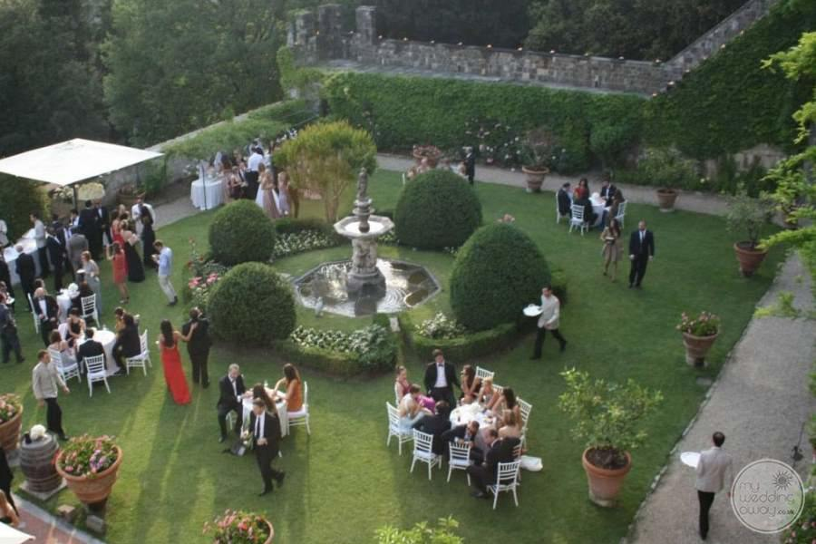 aerial view of outdoor reception and Garden with water fountain