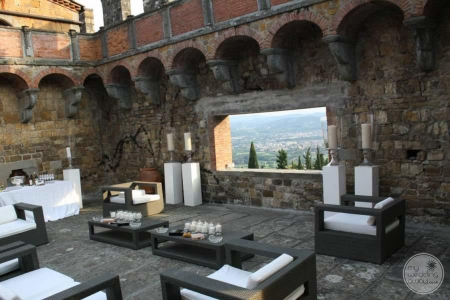 main outdoor Lounge Area with tables and candles