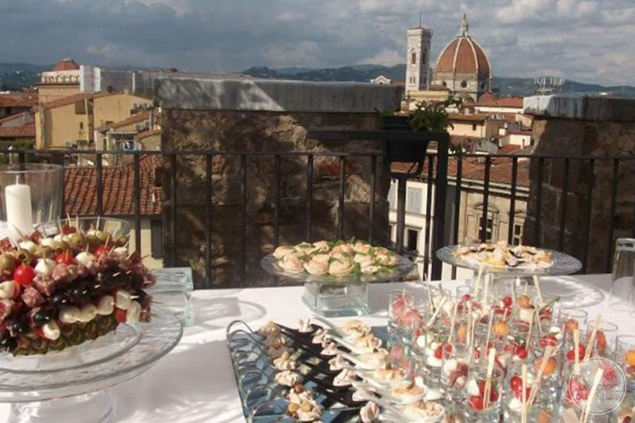 outer deck wedding reception with city View