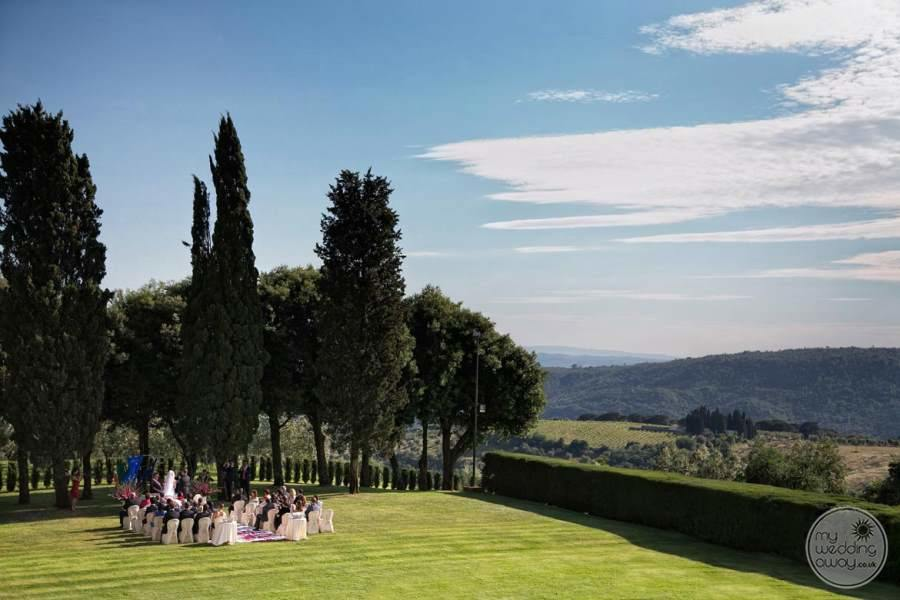 Garden View and ceremony set up on lawn with surrounding mountain view