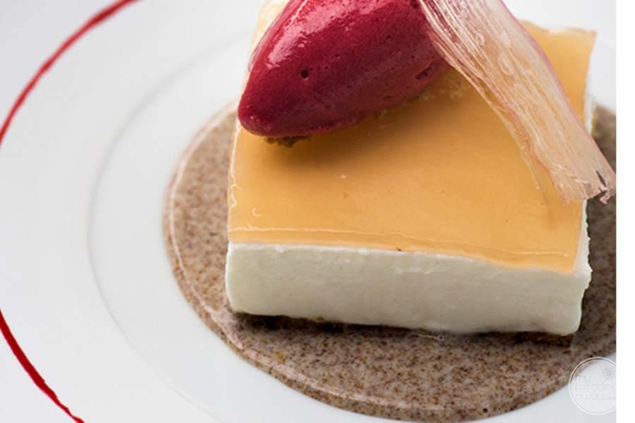 Fancy cheesecake Desserts with gelato