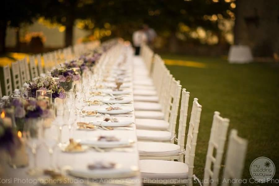 Wedding reception table on grass ground area