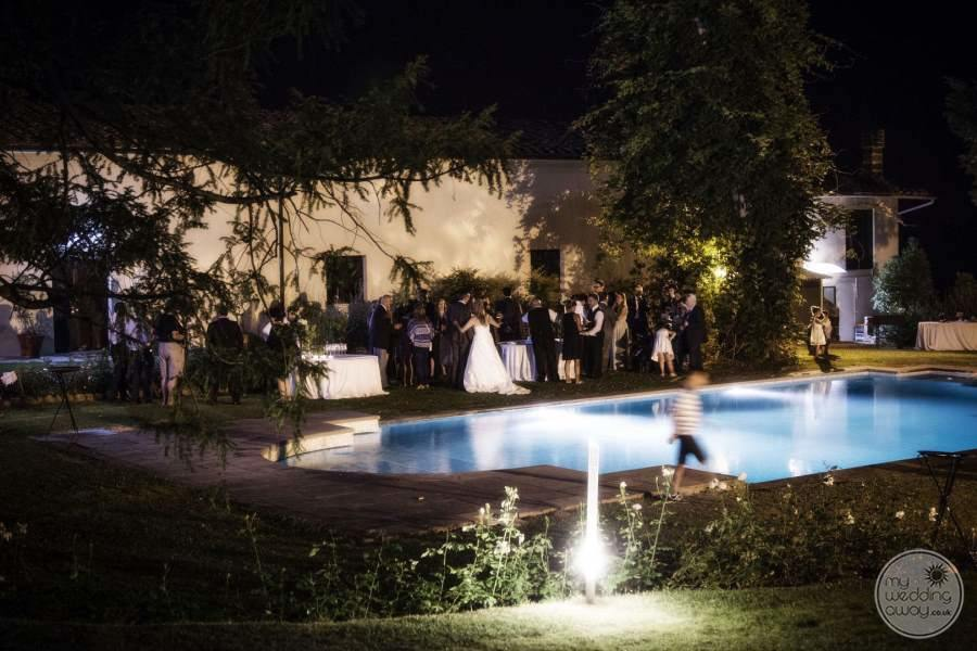 Poolside wedding Reception in the evening
