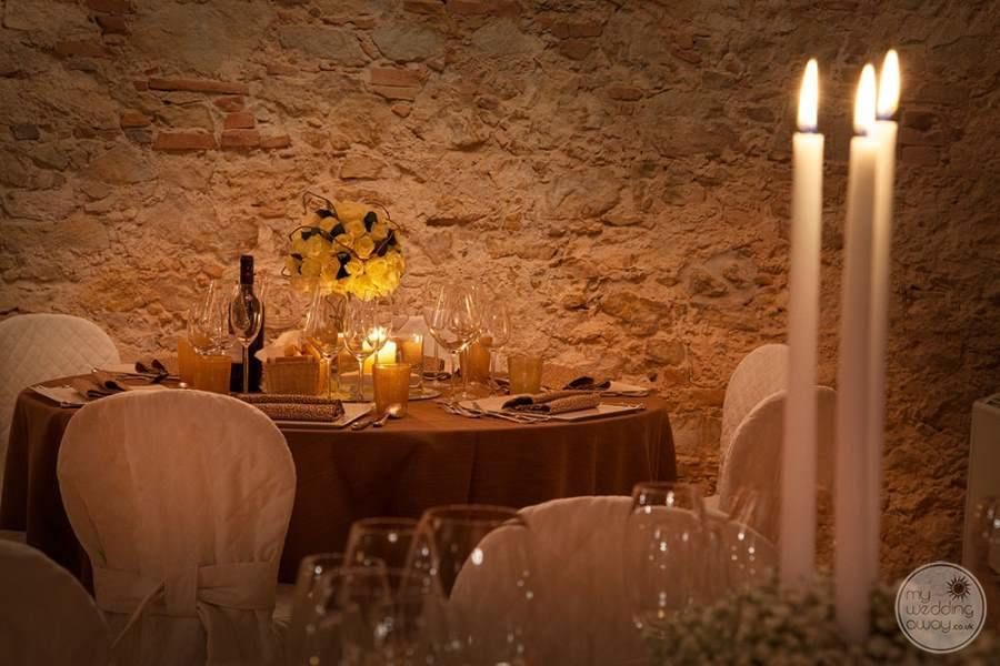 Wedding Reception table with candles and wine