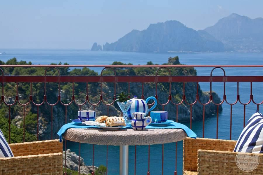 Balcony View of ocean and surrounding mountain