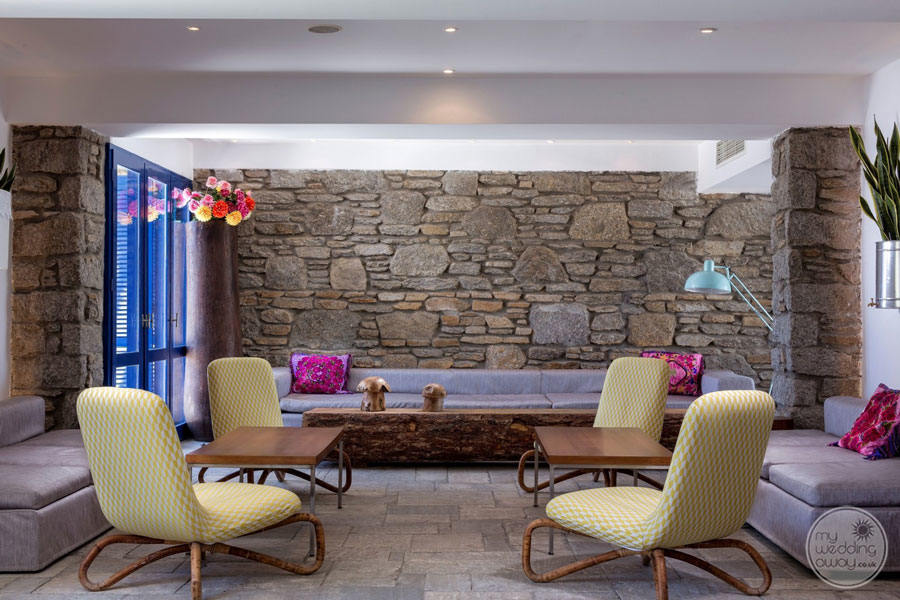 Resort Lounge Area with mauve couches and chairs