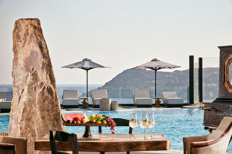 Outside Dining area by the main pool with mountain and ocean view