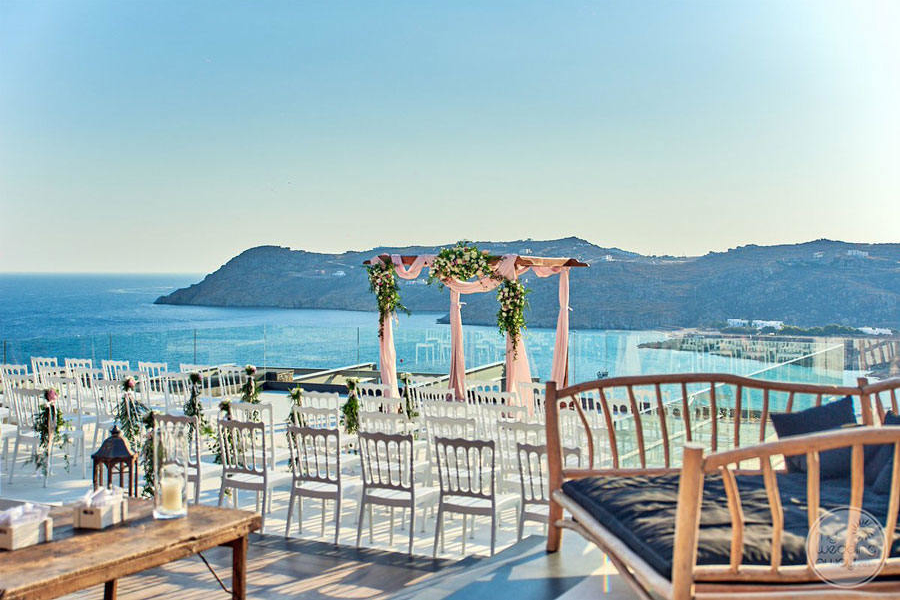 Wedding Setup on deck overlooking ocean