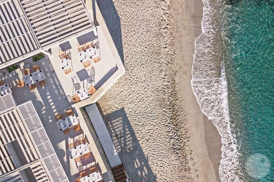 Aeriel view of Beach and main Terrace dining deck