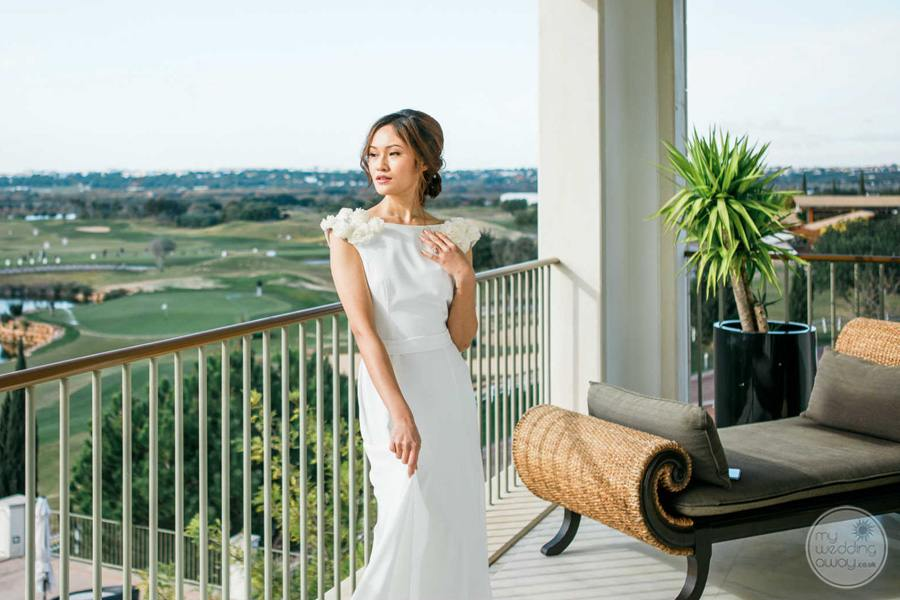 Anantara Vilamoura bride on terrace overlooking golf course