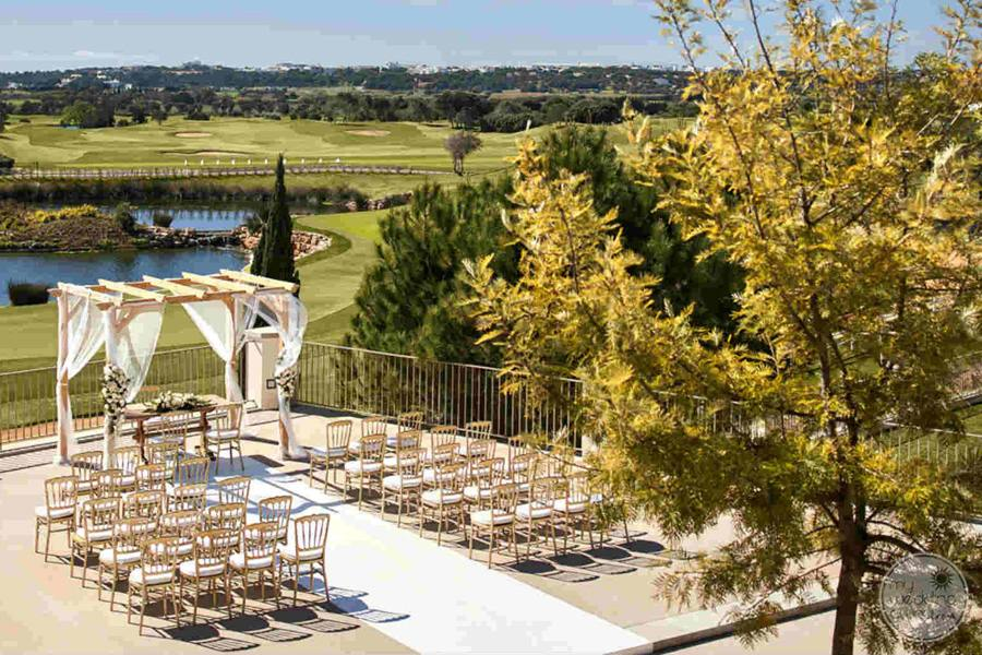 Anantara Vilamoura gazebo chairs set up for wedding ceremony