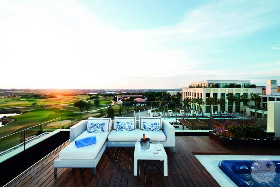 Anantara Vilamoura jacuzzi and chairs on room terrace