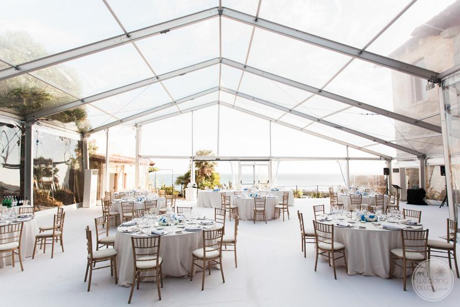 wedding reception set-up with glass ceiling