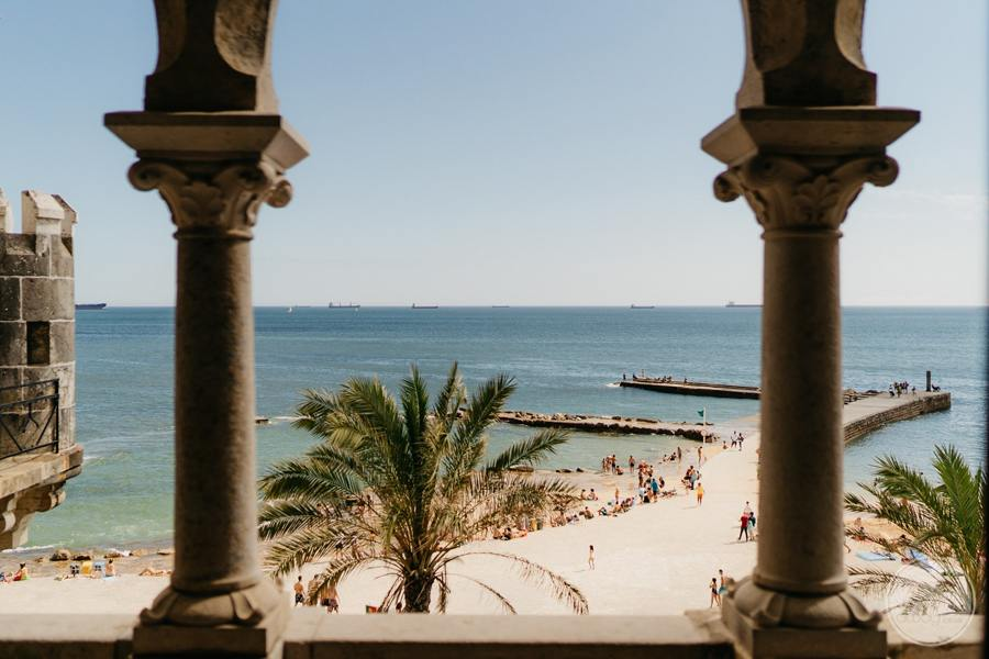 view of beach from palace pillar walls