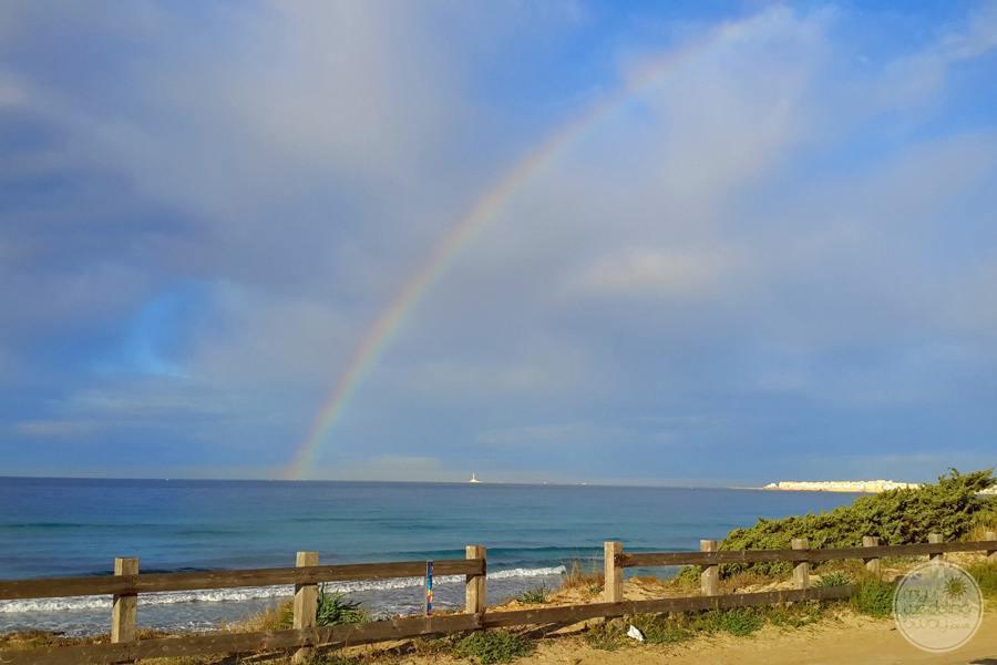 beach and ocean rainbow view