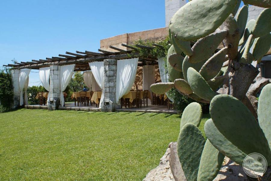 Masseria L'Antico Frantoio Hotel restaurant outdoor on gardens with cacti