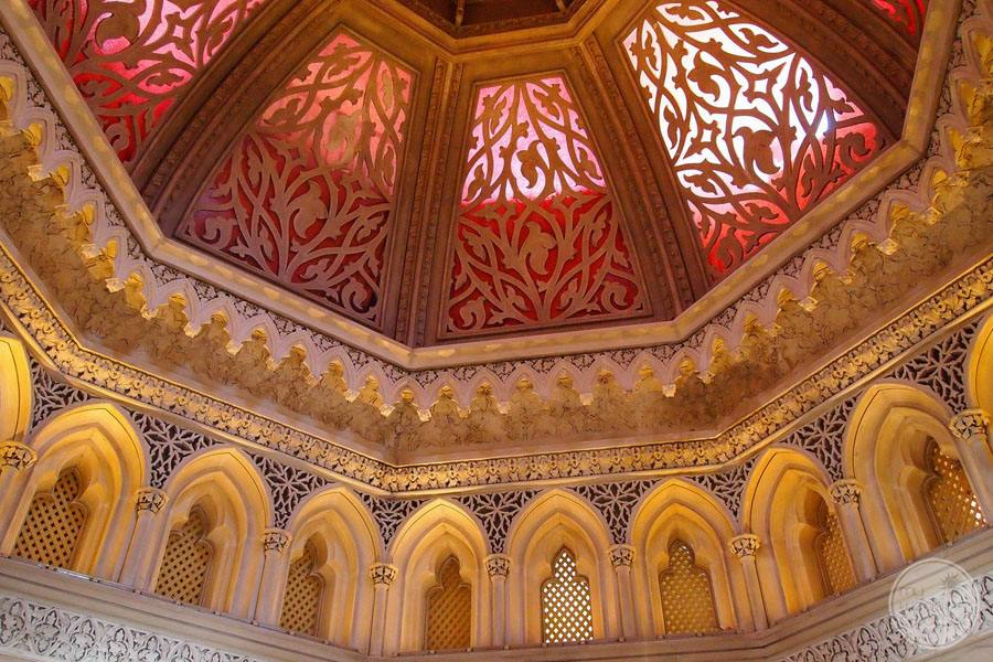 interior of windows and ceiling design in gold