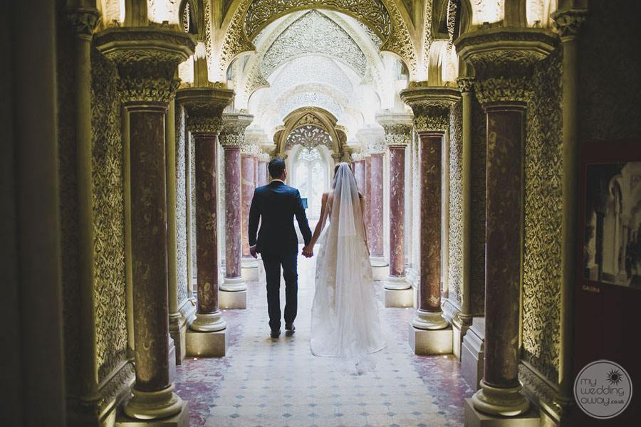 Monserrate Palace guilded hallway for wedding photos