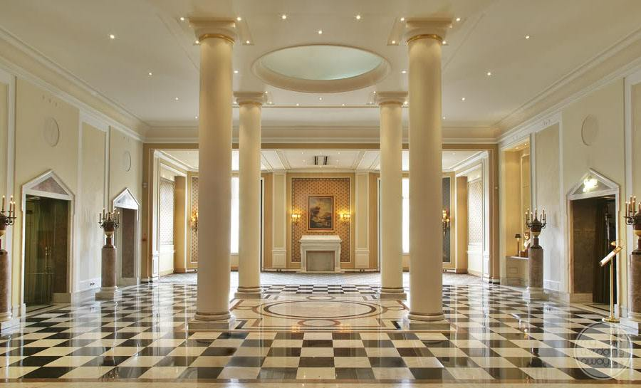hotel foyer with black and white marble floor