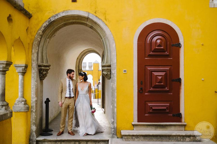 Pena Palace entrance and wedding couple