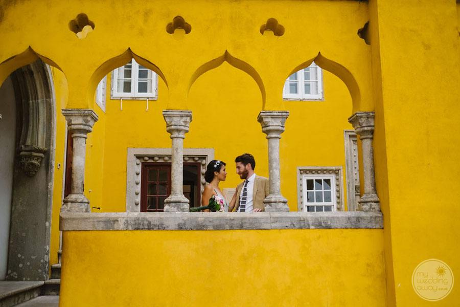 Pena Palace wedding couple in Portugal