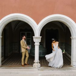 Pena Palace decorative columns and wedding couple