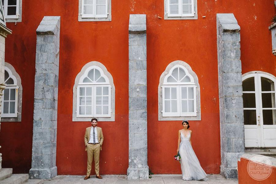 Pena Palace decorative window and wedding couple