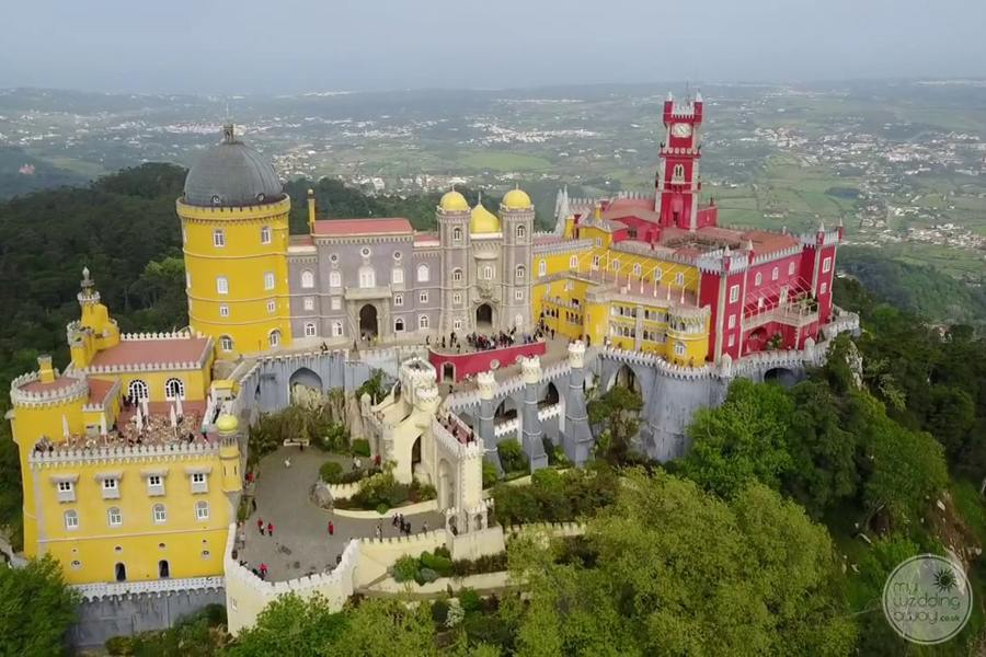 Aerial view of palace and surrounding forest area