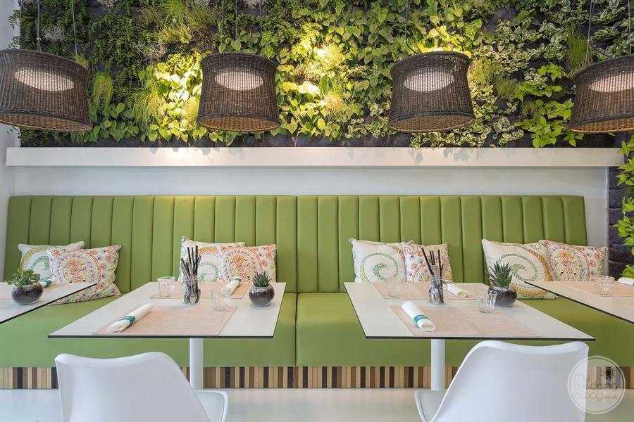 restaurant with fauna wall decor