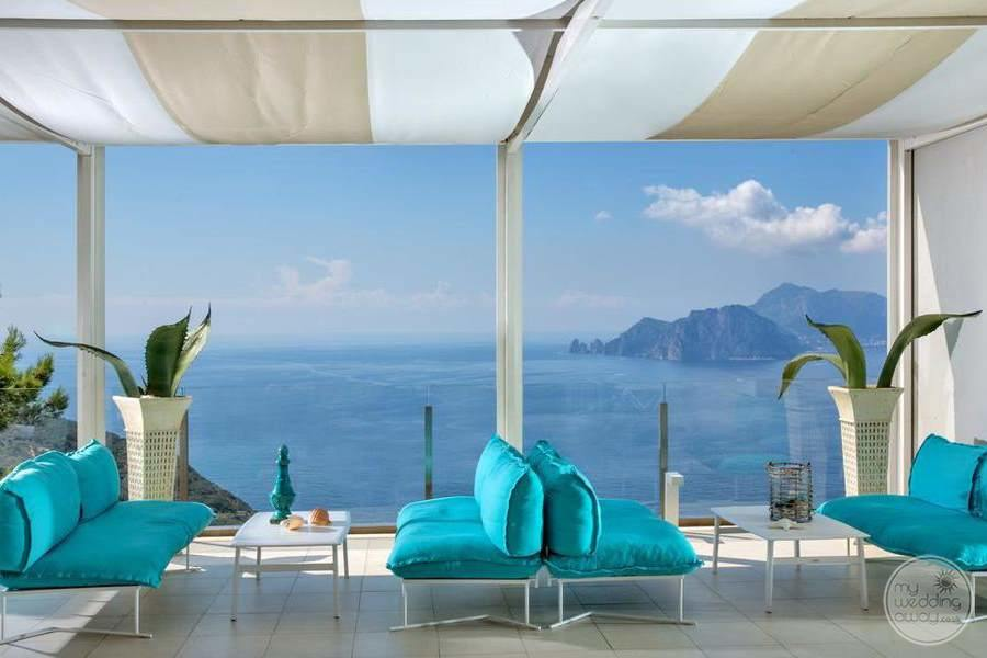 Covered Seating Area in ocean blue couch colour