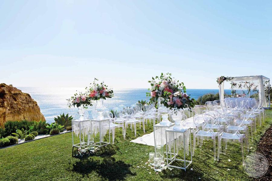 wedding ceremony set up overlooking ocean