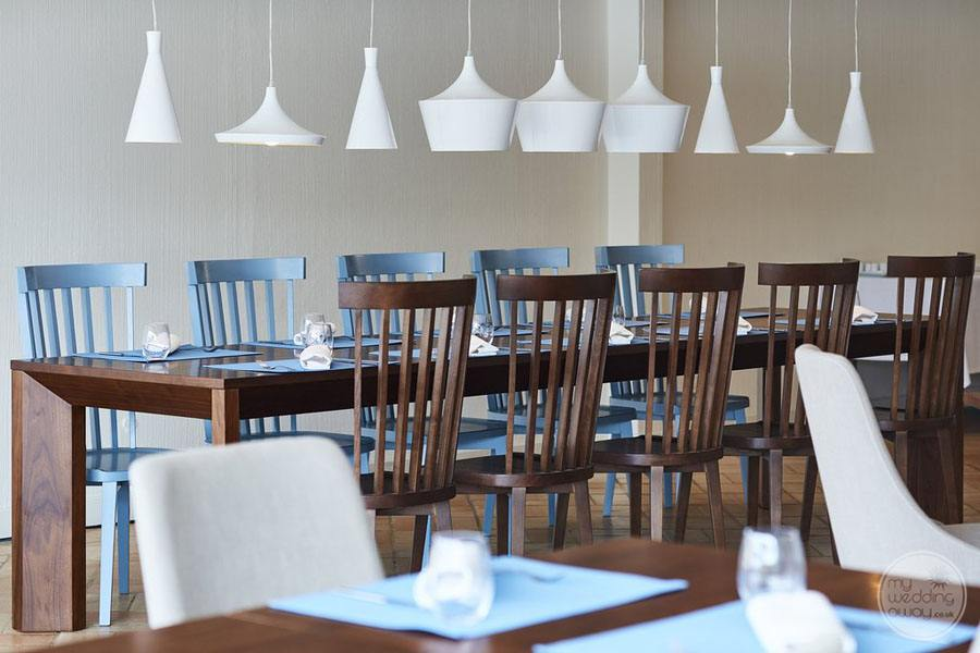 restaurant with white and blue decor