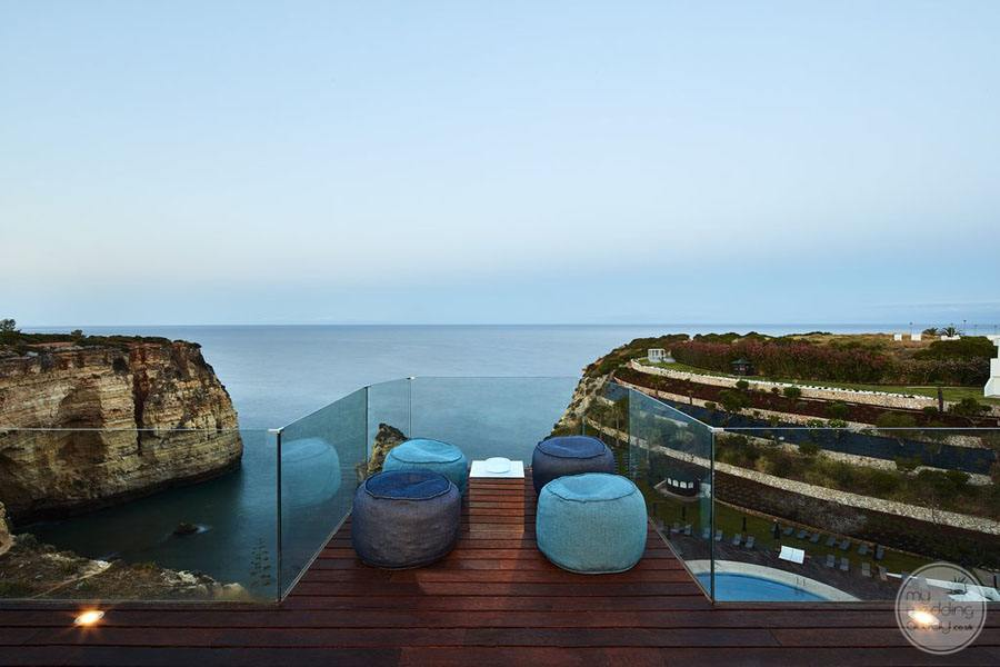 terrace seating overlooking ocean
