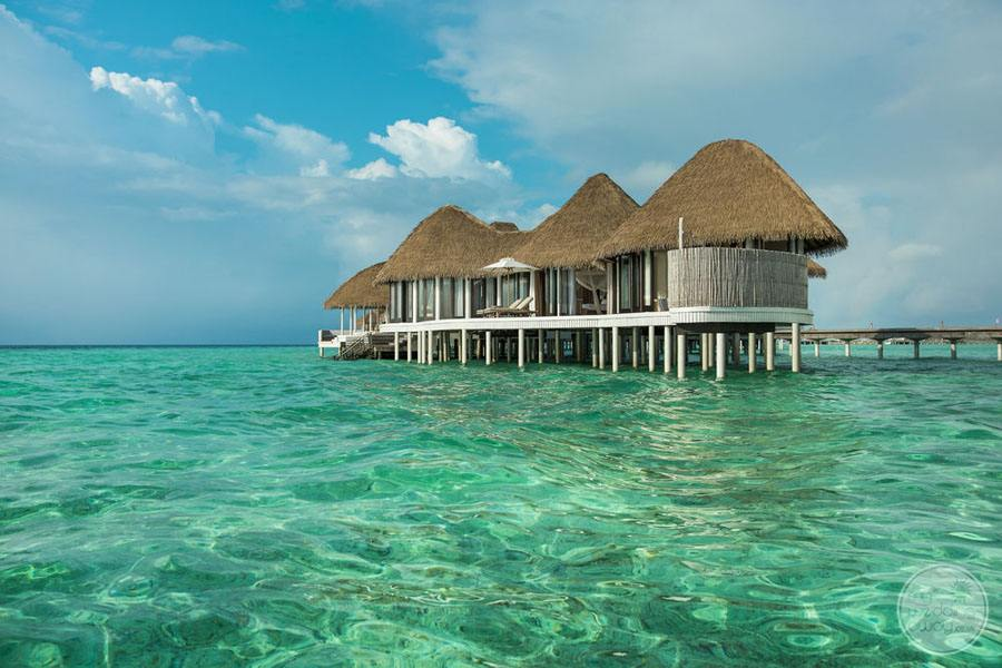 Overwater Bungalows with crystal clear ocean