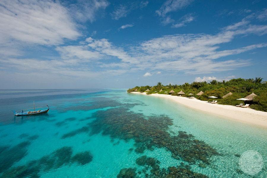 Four Seasons Maldives at Landaa Giraavaru Ariel View of Beach