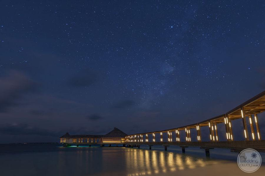 Hurawalhi Island Resort Overwater Bungalows at Night