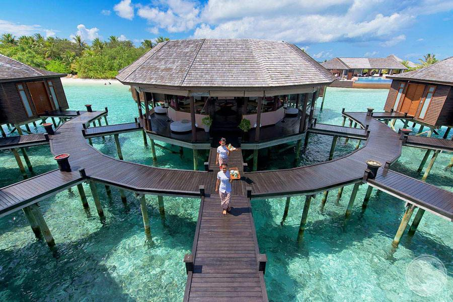 the outdoor over water bungalow Spa with day staff
